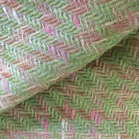 Tissu tweed vert et rose filé or brillant