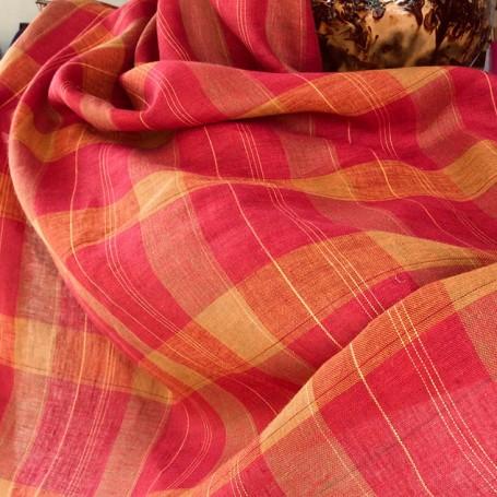 tissu rose et orange tartan cardailhac