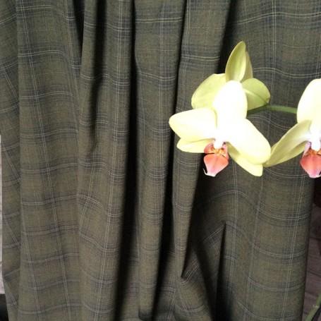 Tissu polyester laine vert kaki