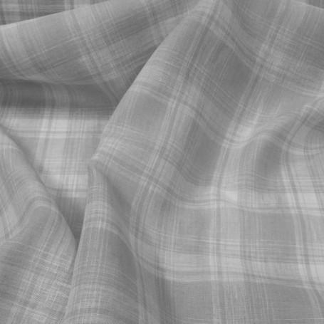 Tissus écossais en lin gris et blanc