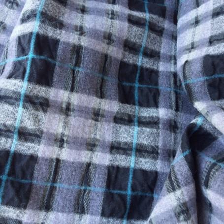 Tissu ecossais habillement 3D noir gris turquoise cloqué