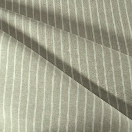 Tissus en lin et viscose beige rayures blanches