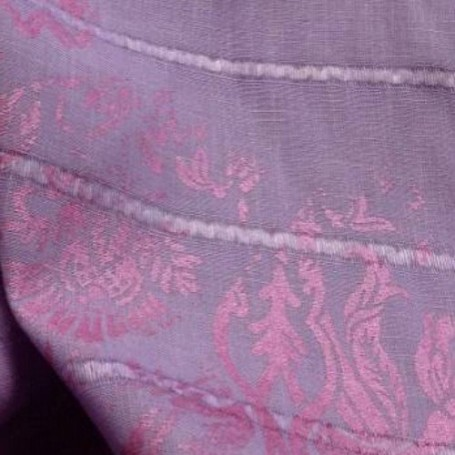 Tissu lin lilas imprimé rayures bayadères